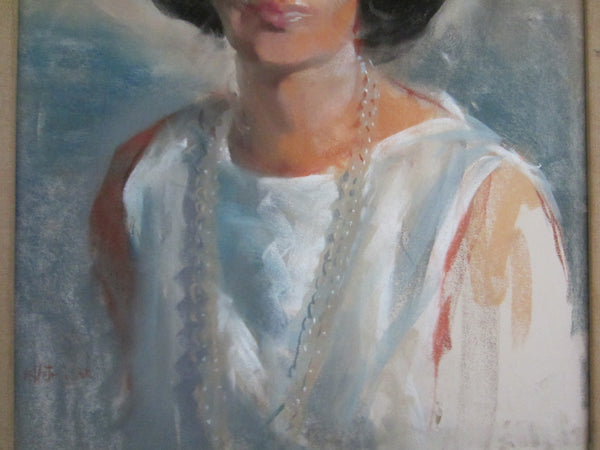 Velletri Woman Portrait Mid Century Oil On Canvas Signed Dated - Designer Unique Finds