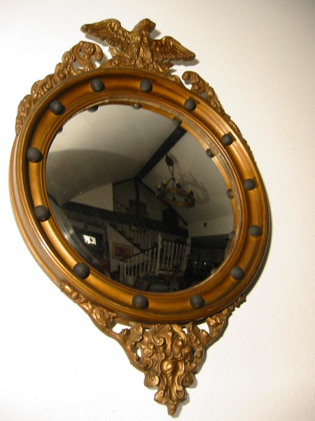 Regency Convex Eagle Crest Gilt Wood Mirror Applied Circular Black Balls - Designer Unique Finds   - 1