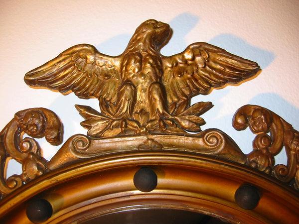 Regency Convex Eagle Crest Gilt Wood Mirror Applied Circular Black Balls - Designer Unique Finds   - 3