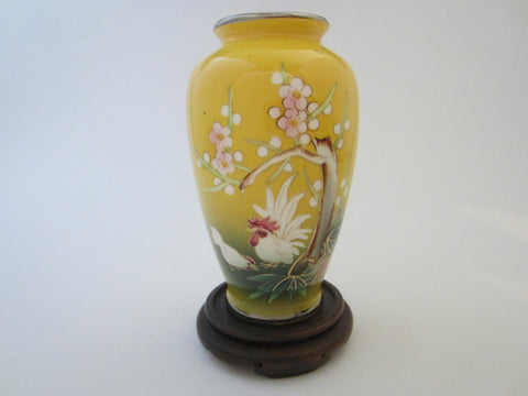 Yellow Porcelain Painted Rooster Flower Vase  W Japanese Cherry Blossoms - Designer Unique Finds