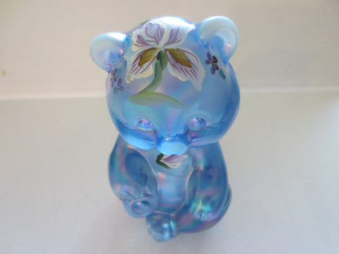 W Watson Signed Fenton Blue Glass Hand Painted Flower Teddy Bear