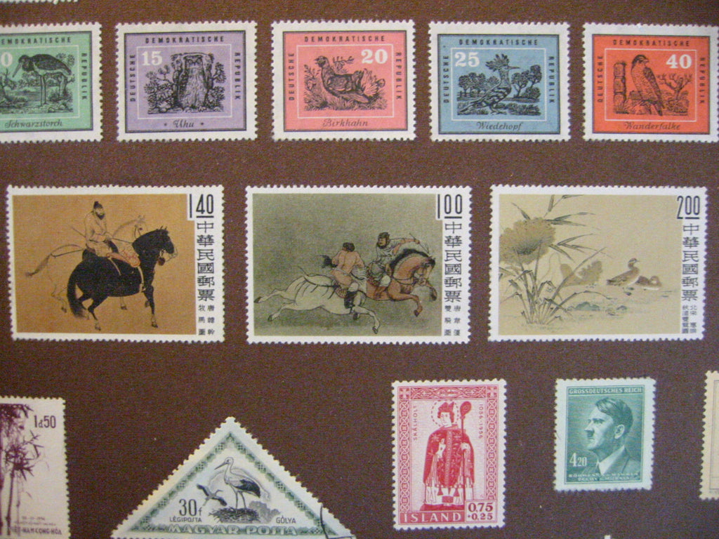 International Mid Century Stamp Collection From Various Continents - Designer Unique Finds