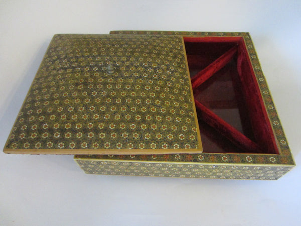 Khatam Miniature Sectional Jewelry Box Red Velvet Lined - Designer Unique Finds   - 1