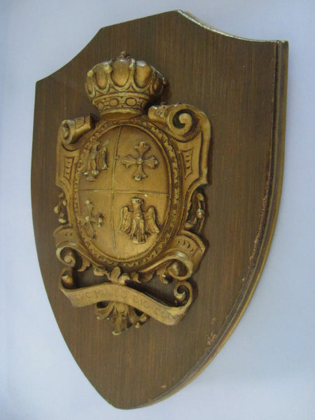 Medieval Wall Plaque Crown Shield Coat Of Arm Nuevo Mundo Dio Colon - Designer Unique Finds
