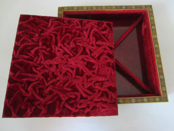 Khatam Miniature Sectional Jewelry Box Red Velvet Lined - Designer Unique Finds   - 5