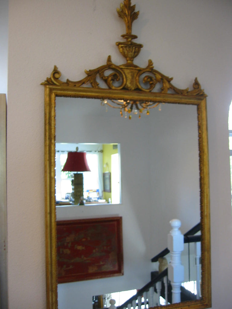 Wall Mirror Rococo Style Italy Gold Leaf Scrolled Vase Finial Crest - Designer Unique Finds   - 1