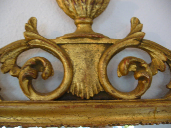 Wall Mirror Rococo Style Italy Gold Leaf Scrolled Vase Finial Crest - Designer Unique Finds   - 5