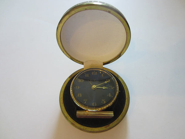 Seth Thomas Germany Hand Winds Golden Case Travel Clock - Designer Unique Finds