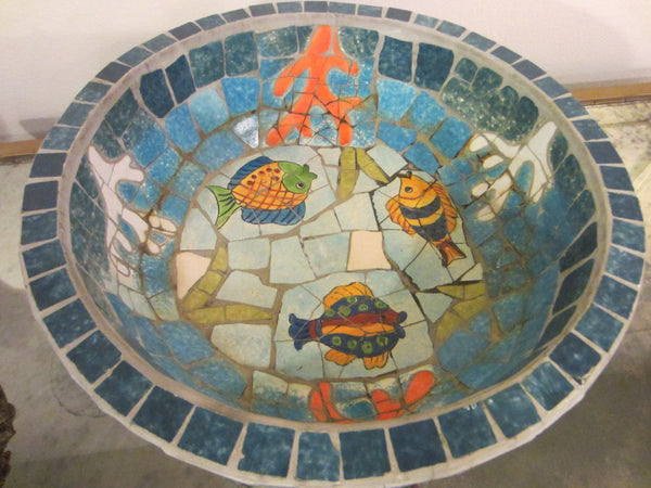 Nautical Mosaic Cement Centerpiece Bowl Hand Crafted Oceanic Coastal Scene - Designer Unique Finds