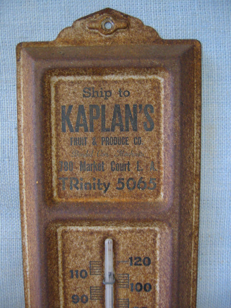Kaplan Fruit Produce Co Advertising Metal Thermometer Wall Decor - Designer Unique Finds