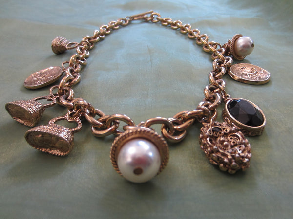 Charm Necklace Brass Link Chain Cameo Glass Stones - Designer Unique Finds   - 3