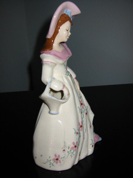 Florence Ward California Bisque Pottery Female Figure Floral Hand Decorated - Designer Unique Finds
