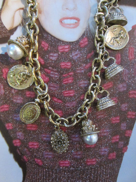 Charm Necklace Brass Link Chain Cameo Glass Stones - Designer Unique Finds   - 5