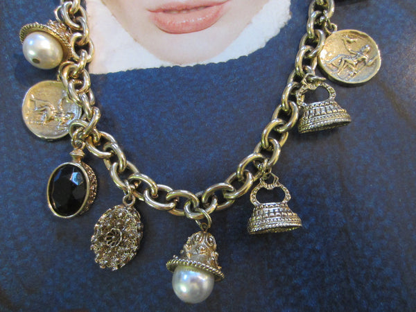 Charm Necklace Brass Link Chain Cameo Glass Stones - Designer Unique Finds   - 4
