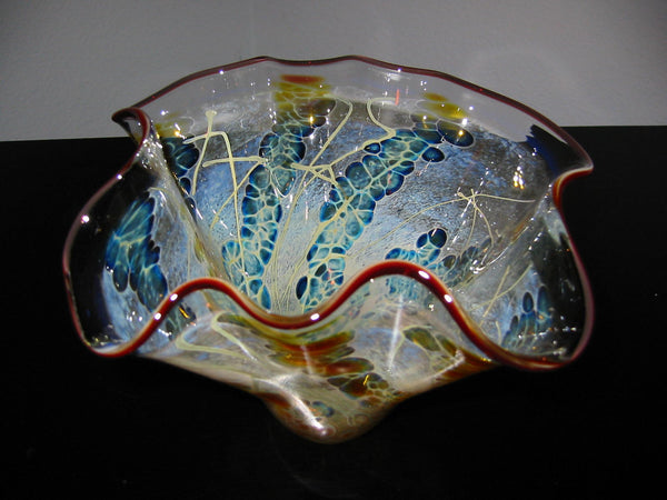 Venetian Handkerchief Hand Blown Glass Artist Signed Abstract Vase - Designer Unique Finds