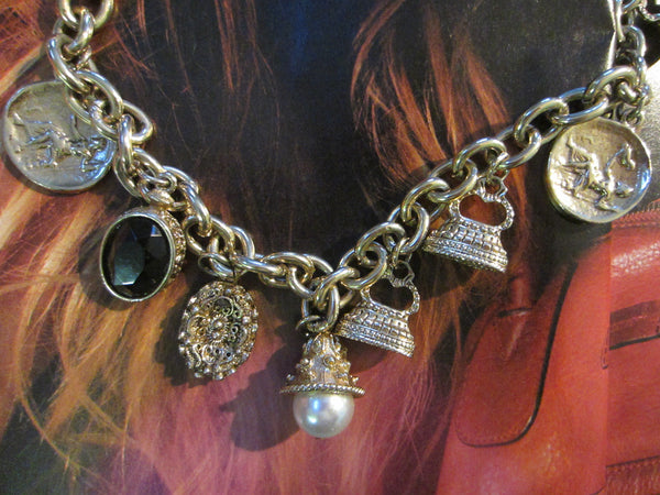 Charm Necklace Brass Link Chain Cameo Glass Stones - Designer Unique Finds   - 2