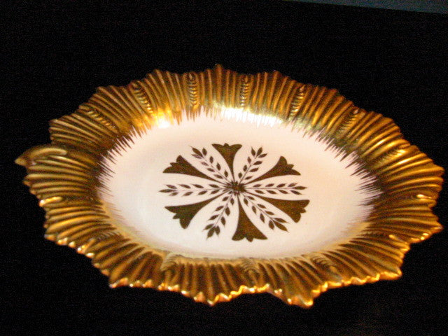 Sunburst Marboro Italy Porcelain Collector Plate Gilt Decorated - Designer Unique Finds   - 1