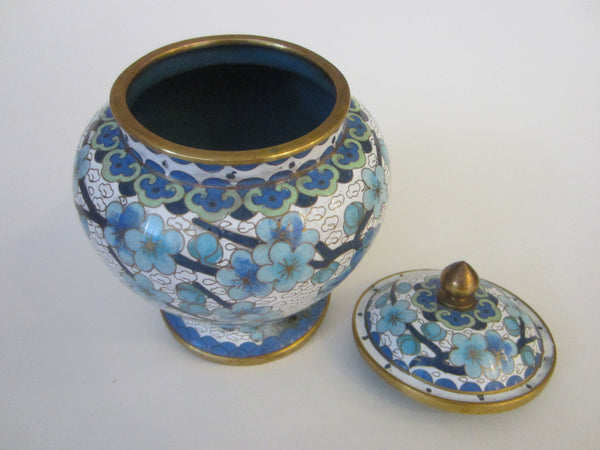 Chinese Jingfa Cloisonne Ginger Jar Enameling Blue Flowers - Designer Unique Finds