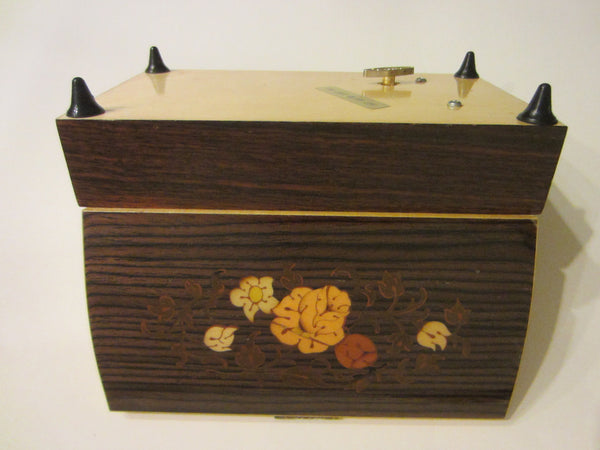 Musical Jewelry Box Maple Marquetry Japan Sanyo
