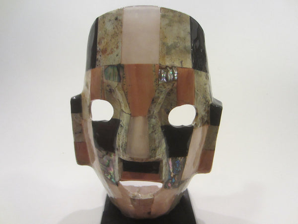 Mayan Aztec Style Mexican Ceremonial Abalone Mask Sculpture