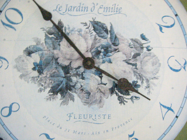 Le Jardin d Emilie Fleuriste Timeworks Quartz Wall Clock Green Blue Flowers - Designer Unique Finds