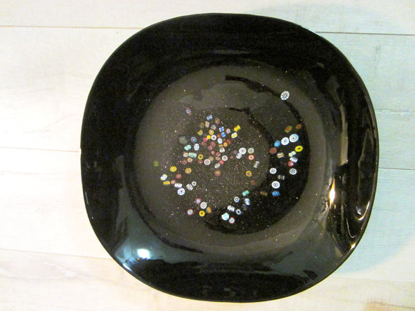 Murano Millefiori Black Glass Bowl Signed Multicolor Gold Inclusion - Designer Unique Finds   - 1
