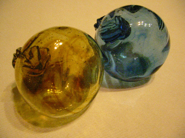 Modernist Hand Blown Colored Glass Fruits Blue Yellow Gold Apples Pear - Designer Unique Finds