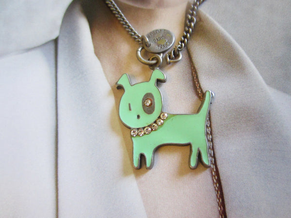 Medecine Paris Douce Green Dog Signed Pendant Link Chain Artisan Jewelry - Designer Unique Finds
