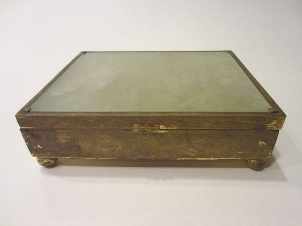 Chinese Jade Top Brass Sectional Box Ball Footed Floral Chasing