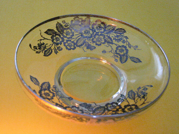Silver Overlay Glass Condiment Dish Floral Decoration - Designer Unique Finds