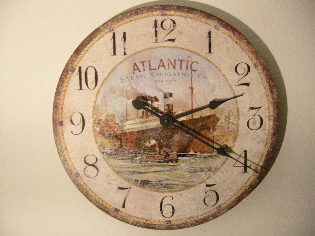 Timeworks Decorative Wall Clock Atlantic Steam Navigation - Designer Unique Finds