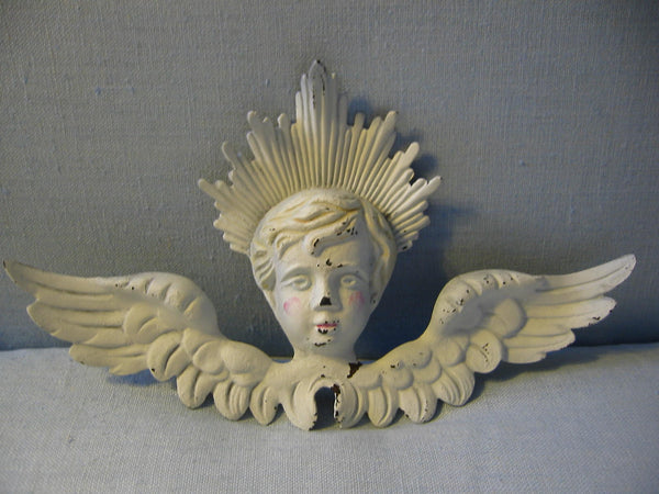 Folk Art Hand Painted White Metal Angel - Designer Unique Finds
