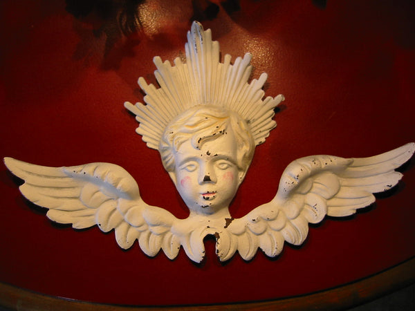 Folk Art White Hand Painted Metal Angel - Designer Unique Finds   - 1