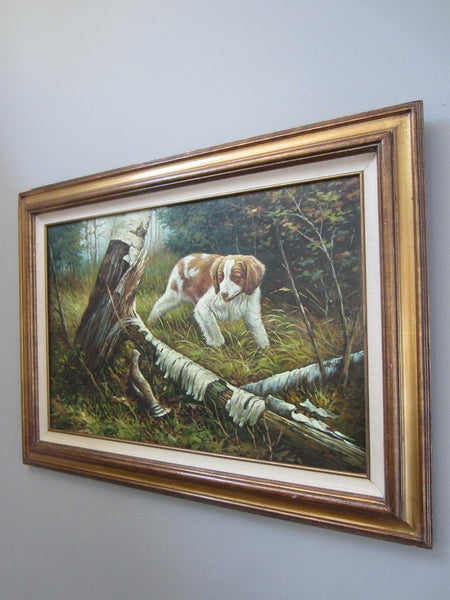 Impressionist Dog In The Field Oil On Canvas Signed Painting