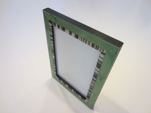 Natalini Italy Green Photo Frame Decorated Stripe Border - Designer Unique Finds