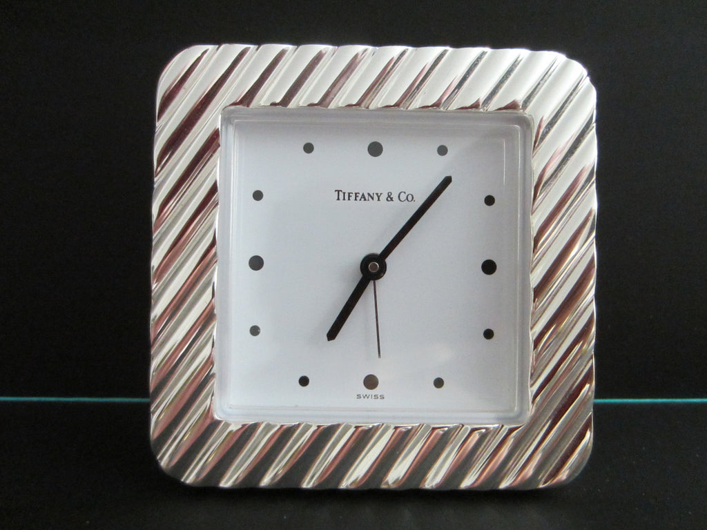 Tiffany Co Swiss Silver Quartz Desk Clock - Designer Unique Finds   - 1