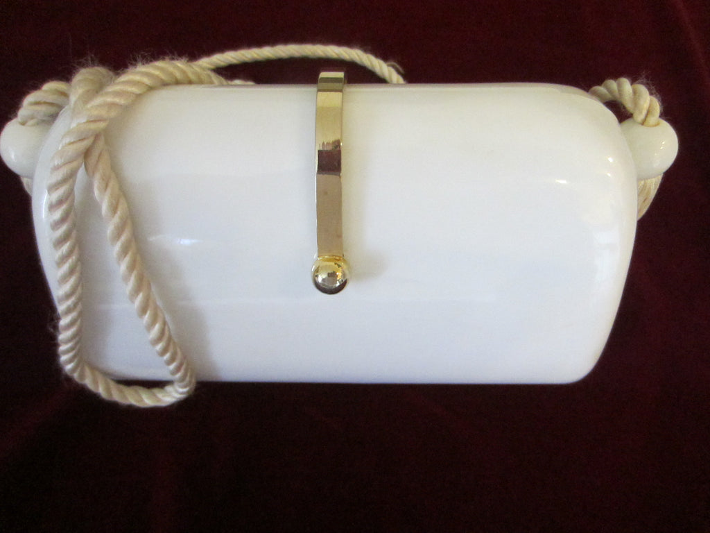 White Celluloid Cross Body Clutch Purse Tassel Design Strap Rope - Designer Unique Finds