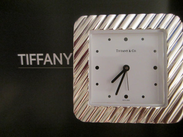 Tiffany Co Swiss Silver Quartz Desk Clock - Designer Unique Finds   - 7