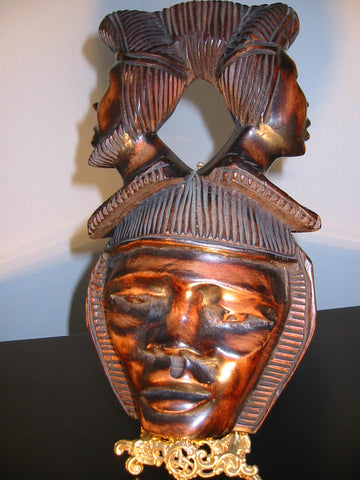 Three Heads Mask Carved On Wood Tribal Art - Designer Unique Finds