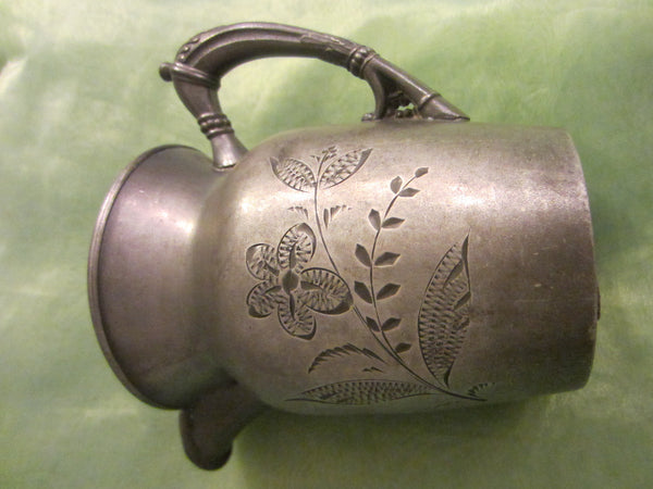 Albany Silver Plate Co Cream Jug Floral Etching - Designer Unique Finds   - 3