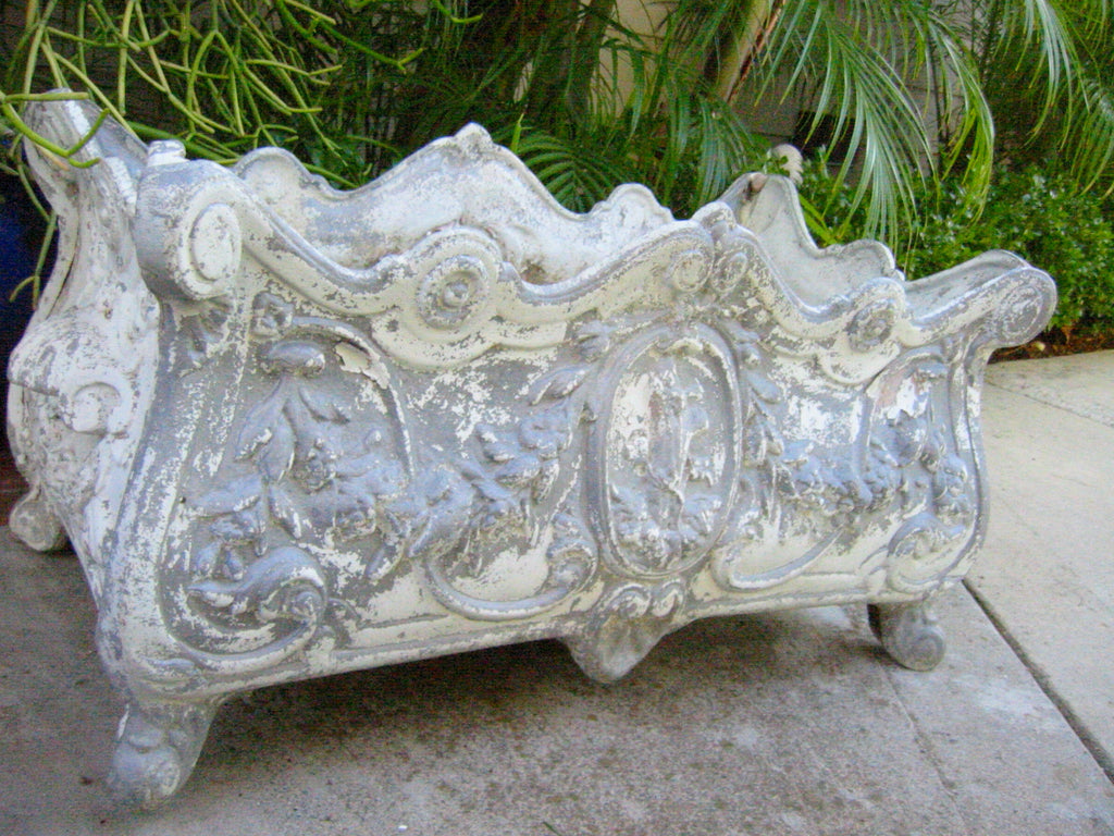 Baroque Style White Metal Footed Garden Sculpture Distressed Planter Box - Designer Unique Finds