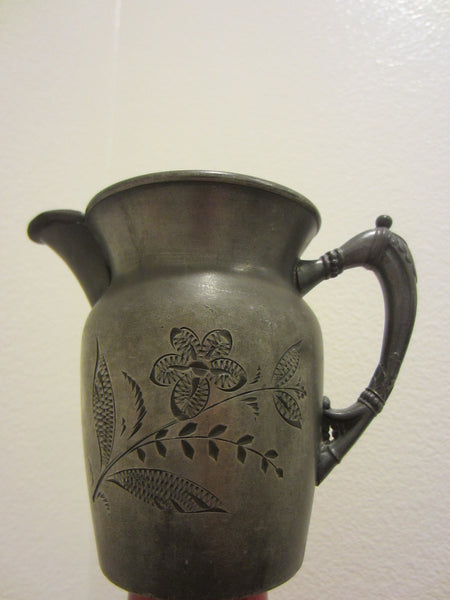 Albany Silver Triple Plate Cream Ware Jug Floral Etching Hallmarks - Designer Unique Finds