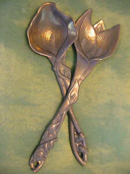 Arthur Court Aluminum Signed Serving Set Decorated Rabbits Calla Lilies - Designer Unique Finds   - 2