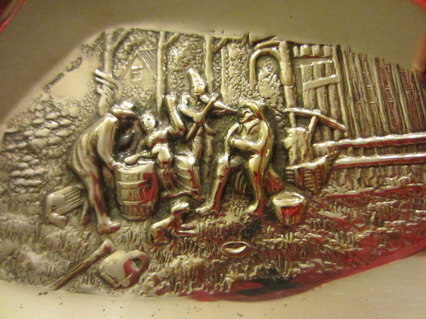 Denmark Silver Plated Trays Signed In Etch Village Scenes - Designer Unique Finds   - 6