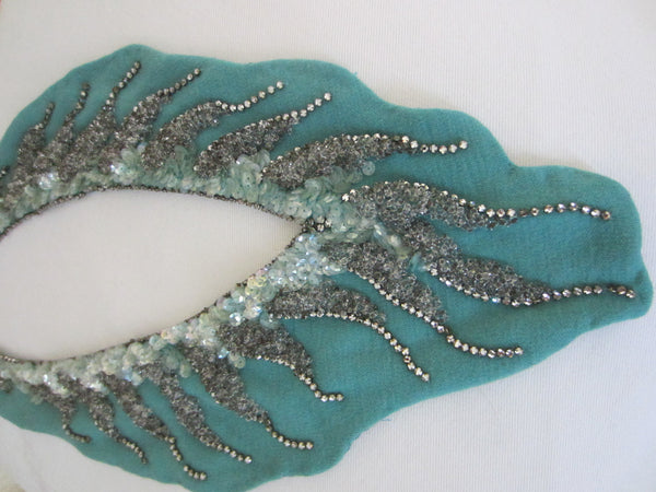 Blue Silhouette Bib Necklace Sequined Sparkle Rhinestones Lined Collar - Designer Unique Finds