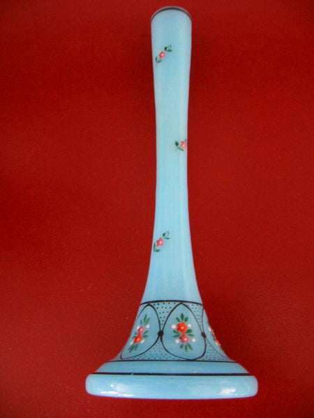 Czech Blue Glass Bud Vase Floral Enameling Hand Painted Beading - Designer Unique Finds   - 1