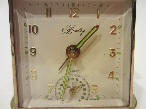 Bradley West Germany Tan Leather Traveling Hand Wind Clock Thermometer - Designer Unique Finds