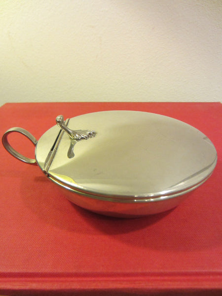 Hanle Debler Distinctive American Pewter ATC Flip Top Round Handle Butter Dish