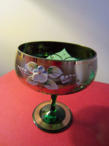 Bohemia Crystal Green Stem Bowls Gold Painted Porcelain Flowers Czech Republic - Designer Unique Finds