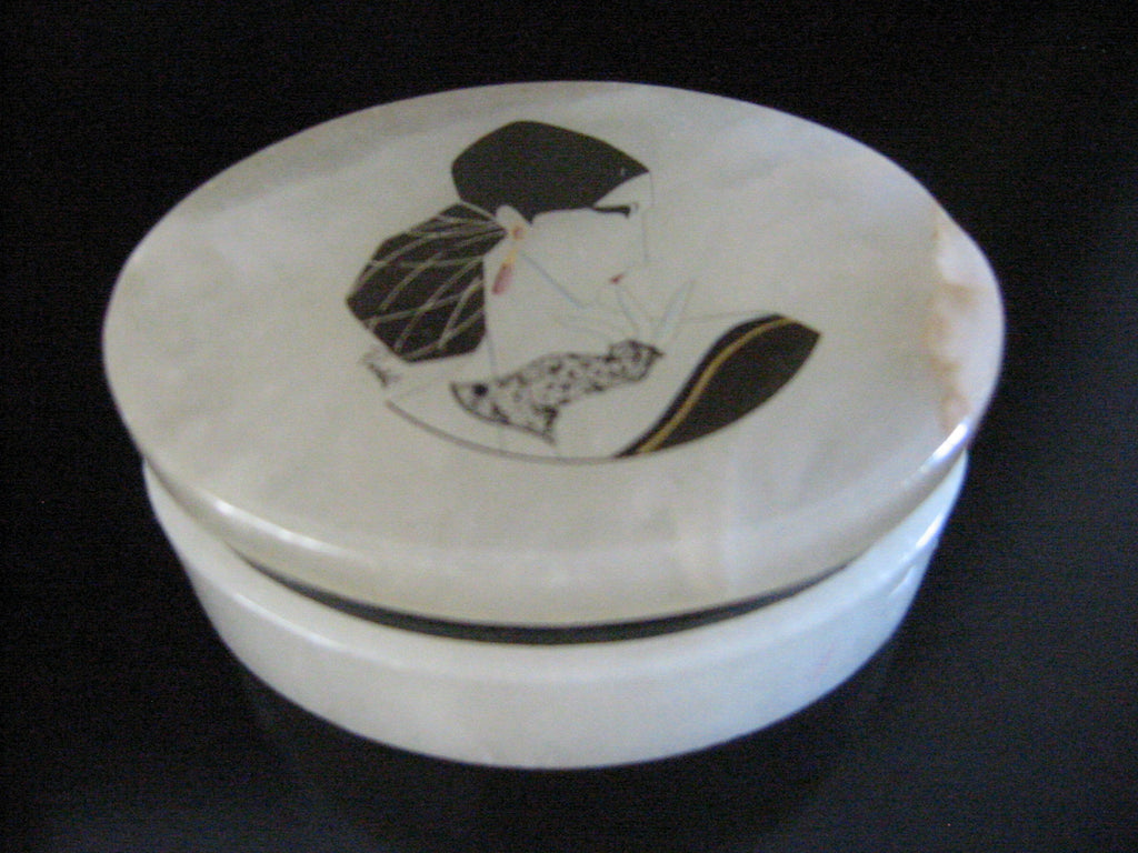 Alabaster Italian Hand Decorated Signed Portrait Oval Jewelry Box - Designer Unique Finds